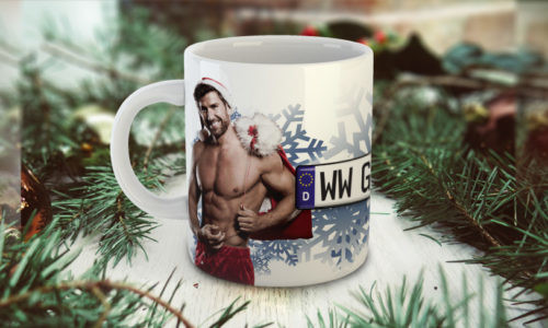 Sexy christmas mug with the man